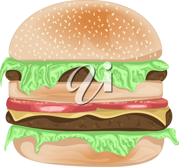Vector realistic burger with sesame seeds and cheese, herbs. Vector illustration