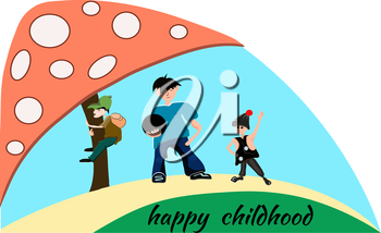 Postcard with children of different ages. Boy hiker with a backpack, a football player with the ball and dancer on a blue sky background.Vector illustration