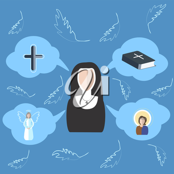Set of vector elements on the subject of religion. The nun is drawn in cartoon style graphics on a blue background. Icons in the form of clouds with symbols of faith. Vector illustration