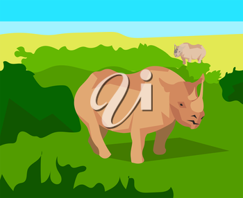 Rhino in the field with green grass on a background of bushes, clear blue sky. Animals and nature. In flat polygon style for design applications and sites. Vector illustration