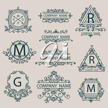 Set emblems, monogram logos. Business style. Vintage ornament signs and symbols linear elements. Vector illustration