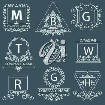 Set company victorian logos. Ornamental corporate style. Vector illustration