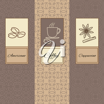 Set of design elements brochures and icons in trendy linear style for coffee package. Vector Illustration