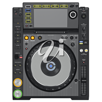 Black dj turntable player with large screen and glowing buttons, top view. 3D graphic