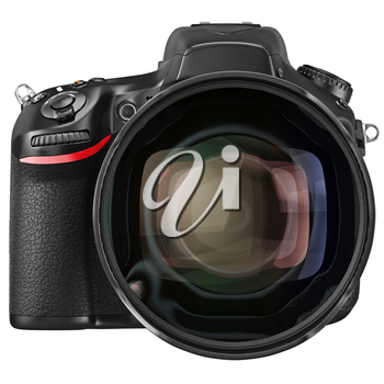 Objective lens camera professional, front view. 3D graphic
