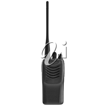 Portable mobile radio with antenna, front view. 3D graphic