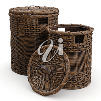 Round empty wicker baskets on white background. 3D graphic