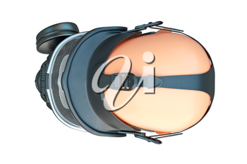 Safety pro mask rubber with glass, top view. 3D graphic