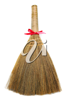Broom as a gift isolated on white