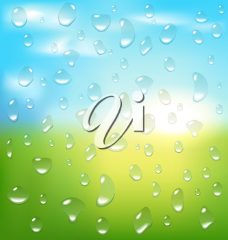 Abstract spring background with sunrise grass and drops