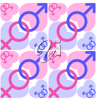 Symbols of Mars and Venus with blue and pink hearts isolated on white background