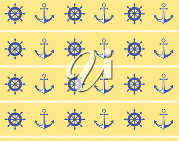 Seamless sea pattern. Blue wheel and stern anchor on yellow background
