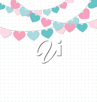 Hearts buntings garlands on white background
