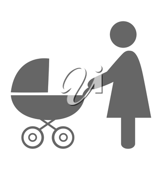Woman with pram pictogram flat icon isolated on white background