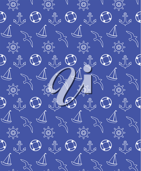 Seamless sea pattern isolated on blue background