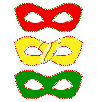 Three masks colored like traffic light isolated on white background