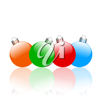 Four multicolored christmas balls with reflection isolated on white background