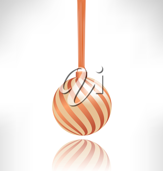 Single spiral Christmas ball hanging on piece of fabric with reflection on grayscale background