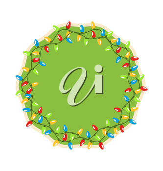 Festive Label Icon with Christmas Lights Isolated on White Background