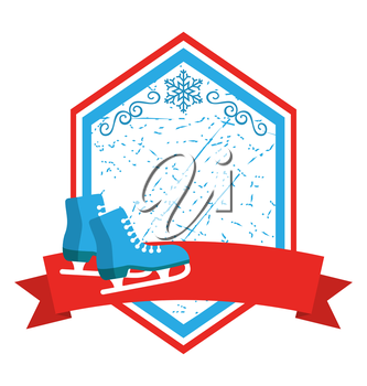 Christmas Winter Sport Label Icons Flat with Skates Isolated on White Background