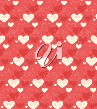 Seamless Festive Love Abstract Pattern with Hearts on Red Background