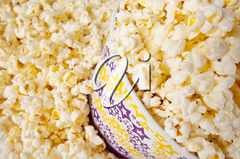 Close-up shot of popcorn in large bucket