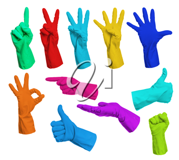 Set of colorful gloves hand signs isolated on white background