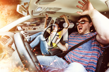 Scared couple with beverages in the burning car