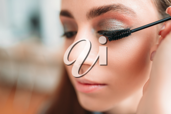 Make up artist work with woman eyes, beauty studio on background. Cosmetic salon