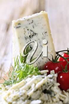Blue cheese and fresh tomatoes - detail
