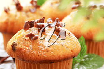 Tasty muffins topped with chocolate shavings