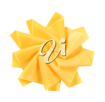 Thin slices of cheese on white background