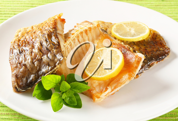 Oven baked carp fillets with crispy skin