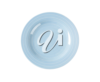 Blue dinner plate with white concentric circles