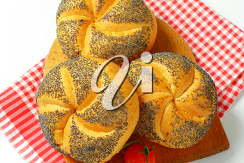 Bulkie rolls topped with poppy seeds