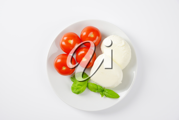 fresh mozzarella, basil and tomatoes - ingredients for caprese salad on white plate