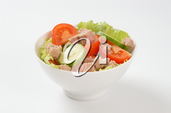 bowl of fresh vegetable salad with tuna
