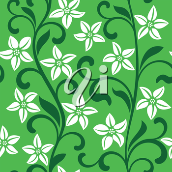 Seamless pattern with white flowers on a green background