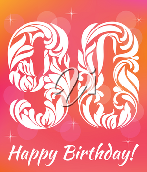 Bright Greeting card Template. Celebrating 90 years birthday. Decorative Font with swirls and floral elements.