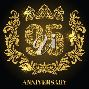 Anniversary of 95 years. Digits, frame and crown made in swirls and floral elements with gold glitter and sparkle