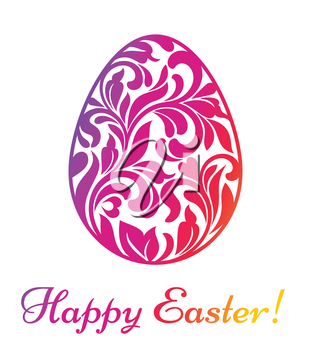 Happy Easter. Colorful Easter egg made of swirls and floral elements isolated on a white background