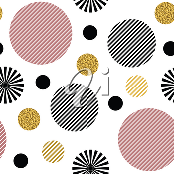 Seamless pattern. Striped black and pink circles and circles with gold glitter isolated on the white background. Texture for print, wallpaper, home decor, textile, package design