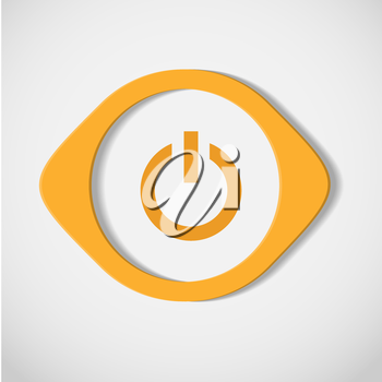 vector yellow button on a white background.