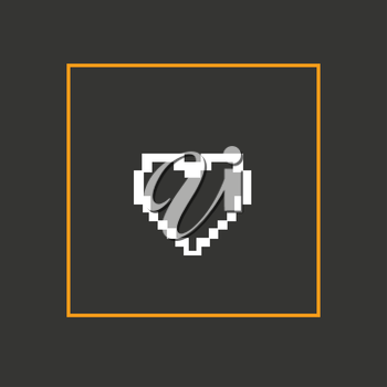 Simple stylish pixel icon heart. Vector design.