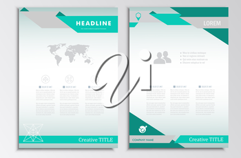 Vector brochure template. A4 format layout. Home page and more. Infographics, headers, stylish appearance.
