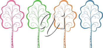 Trees Birches, Symbolizing Seasons of Year, Isolated Pictograms. Vector