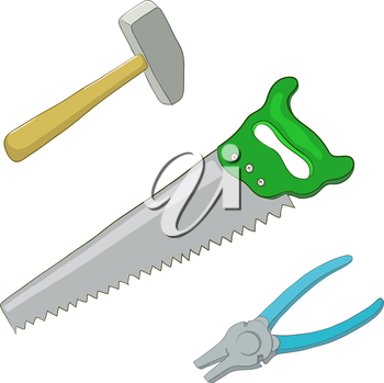 Set vector operating tool: hammer, saw and pliers. Vector
