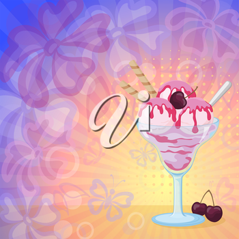 Food, Glass with Sundae Ice Cream with Syrup, Waffles and Cherry Berries on Abstract Background with Silhouettes Flowers, Butterflies, Rings and Rays. Eps10, Contains Transparencies. Vector