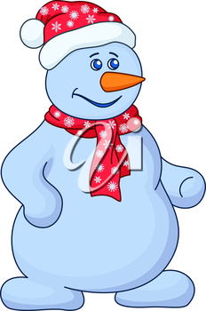 Christmas picture, snowball with a nose-carrot in a red cap and red scarf. Vector