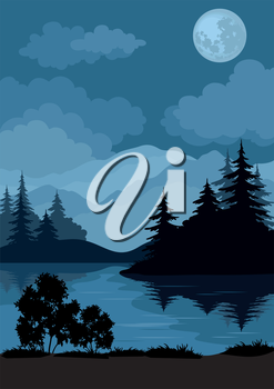 Night Landscape, Mountains Lake, Trees and Moon. Element of this Image Furnished by NASA, WWW.Visibleearth.Nasa.Gov. Vector